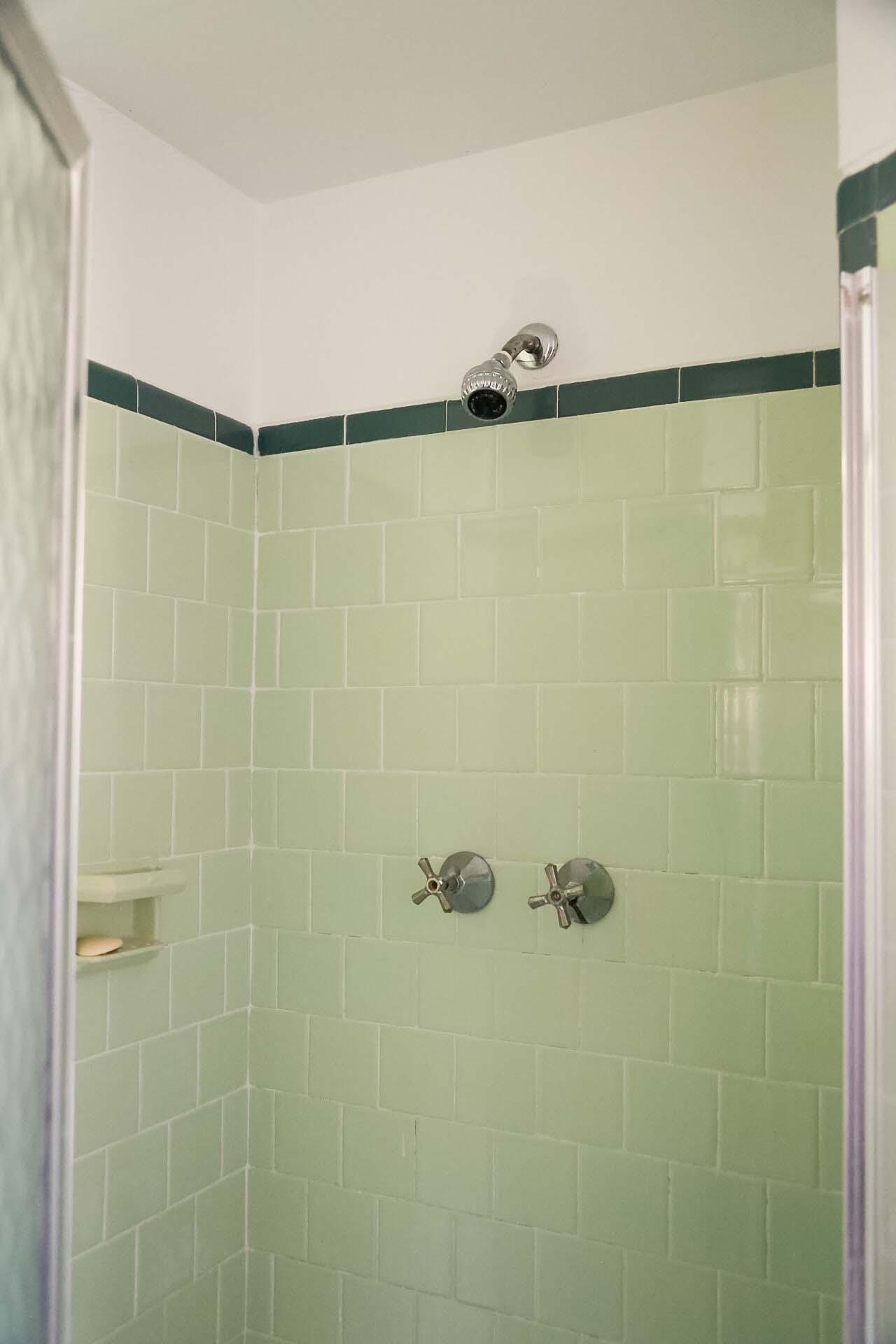 Bathroom 1950s green shower